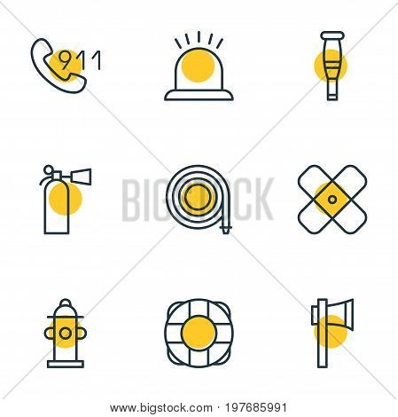 Editable Pack Of Safety, Adhesive, Lifesaver And Other Elements.  Vector Illustration Of 9 Necessity Icons.