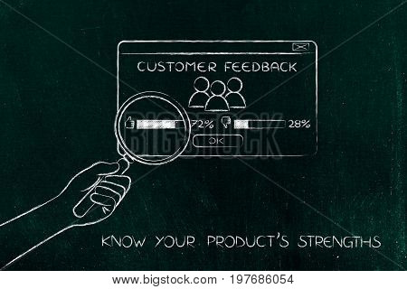 Hand With Magnifying Glass Analyzing Positive Feedback, Product Strengths