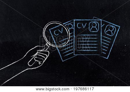 Hand With Magnifying Glass Analyzing Different Resumes, Comparing Candidates