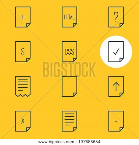 Editable Pack Of Document, Done, Code And Other Elements.  Vector Illustration Of 12 Document Icons.