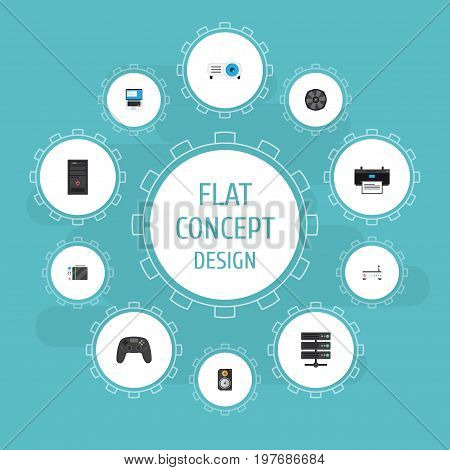 Flat Icons Router, System Unit, Amplifier And Other Vector Elements