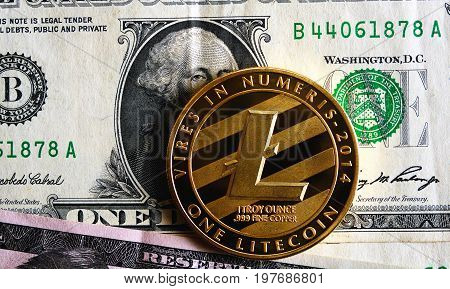 litecoin on one dollar banknote. cryptocurrency Trading concept