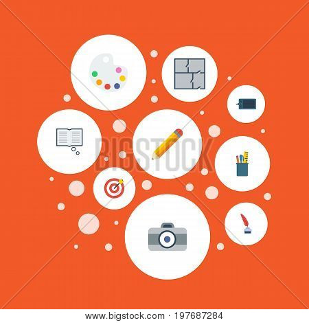Flat Icons Photo, Gadget, Case And Other Vector Elements