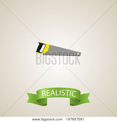 Realistic Saw Element. Vector Illustration Of Realistic Hacksaw Isolated On Clean Background