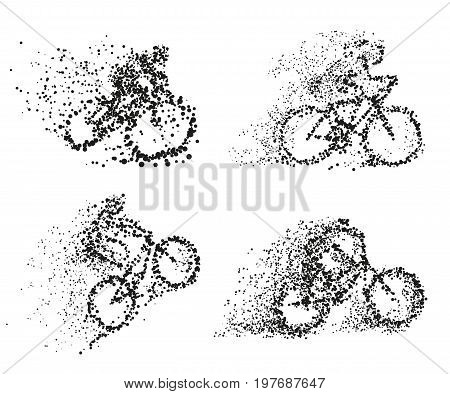 Bicycliston bike particle divergent silhouette. Set of vector illustrations. Can be used for Sport and Fitness club poster, for logo, t-shirt design, banner