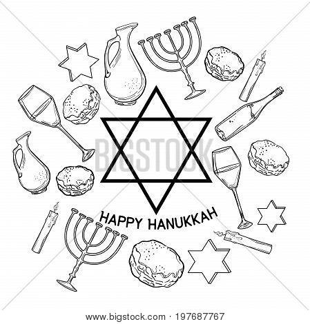 Happy Hanukkah holiday greeting background. Traditional Hanukkah symbols. Vector illustration.