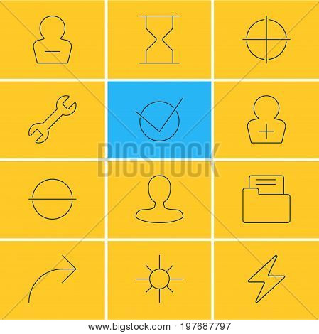 Editable Pack Of Share, Register Account, Bolt And Other Elements.  Vector Illustration Of 12 UI Icons.