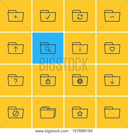 Editable Pack Of Submit, Locked, Recovery And Other Elements.  Vector Illustration Of 16 Folder Icons.