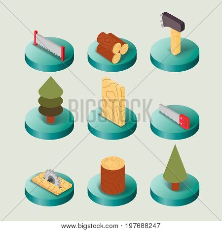 Lumberjack flat isometric set of woodworking tools isolated vector illustration