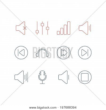 Editable Pack Of Soundless, Earphone, Volume Up And Other Elements.  Vector Illustration Of 12 Melody Icons.