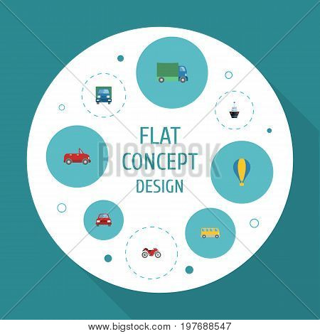 Flat Icons Omnibus, Truck, Automobile And Other Vector Elements