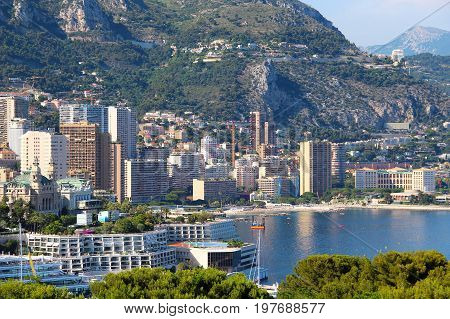 View of Monte-Carlo with casino beach and Beausoleil upper town