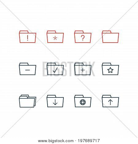 Editable Pack Of Document Case, Upload, Pinned And Other Elements.  Vector Illustration Of 12 Dossier Icons.