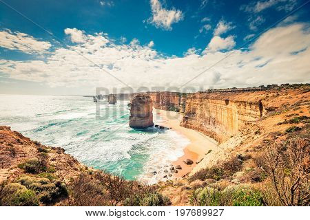 Twelve Apostles scenic coastal view from The Castle Rock at Port Campbell Victoria Australia