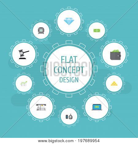 Flat Icons Verdict, Bar Diagram, Remote Paying And Other Vector Elements