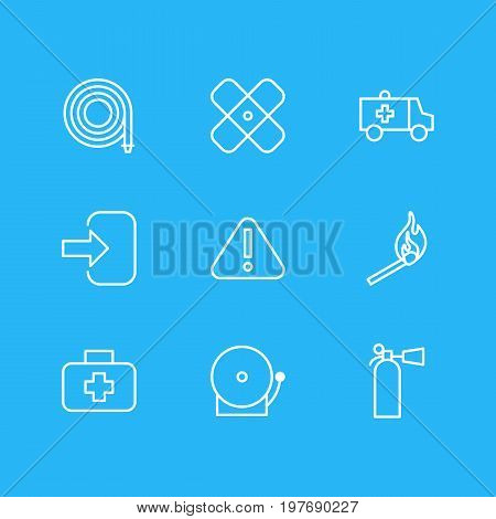 Editable Pack Of Siren, Adhesive, Medical Case And Other Elements.  Vector Illustration Of 9 Necessity Icons.