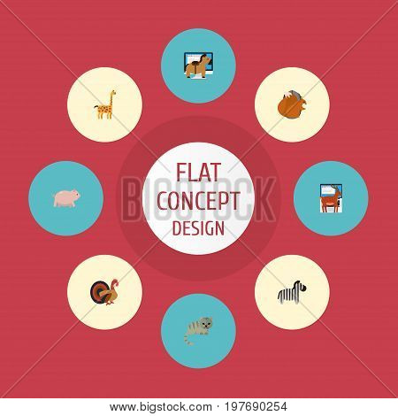 Flat Icons Camelopard, Horse, Moose And Other Vector Elements