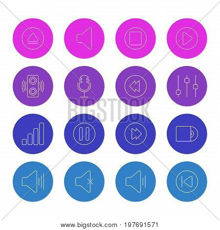 Editable Pack Of Reversing, Amplifier, Volume Up And Other Elements.  Vector Illustration Of 16 Melody Icons.