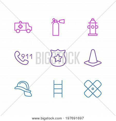 Editable Pack Of Taper, Safety, Hardhat And Other Elements.  Vector Illustration Of 9 Necessity Icons.