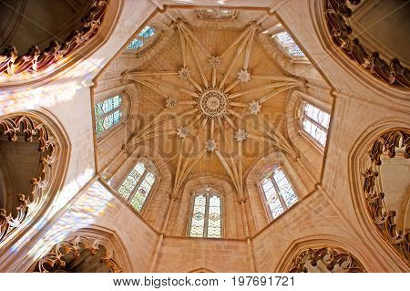 The Dome Of Founders' Chapel In Batalha Monastery