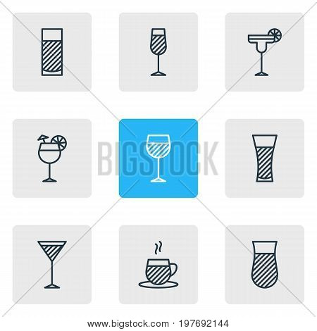 Editable Pack Of Beverage, Margarita, Aqua And Other Elements.  Vector Illustration Of 9 Beverage Icons.