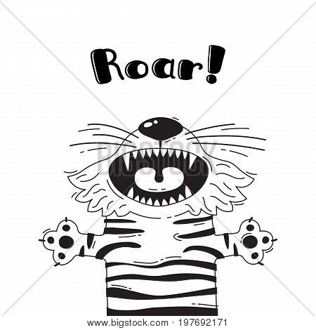 Illustration with joyful tiger who shouts - Roar. For design of funny avatars, welcome posters and cards. Cute animal in vector.