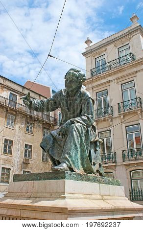 Antonio Ribeiro Monument In Lisbon
