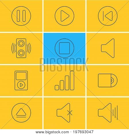 Editable Pack Of Lag, Amplifier, Mp3 And Other Elements.  Vector Illustration Of 12 Melody Icons.