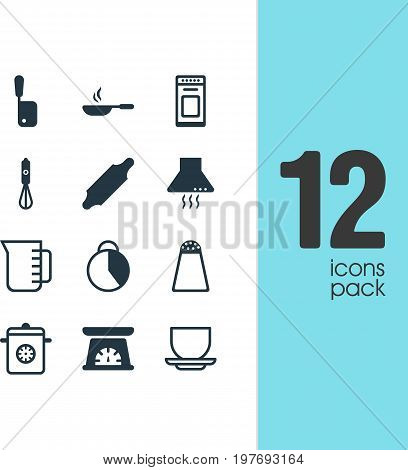 Editable Pack Of Pepper Container, Extractor Appliance, Oven And Other Elements.  Vector Illustration Of 12 Kitchenware Icons.