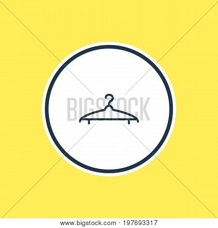 Beautiful Dress Element Also Can Be Used As Cloakroom Element.  Vector Illustration Of Hanger Outline.