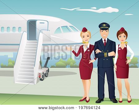 Pilot and Flight attendants of Commercial Airlines with the background of airplane. Sky team. Flat design, vector cartoon illustration.