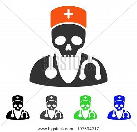 Deadly Doctor flat vector pictogram. Colored deadly doctor gray, black, blue, green icon versions. Flat icon style for web design.