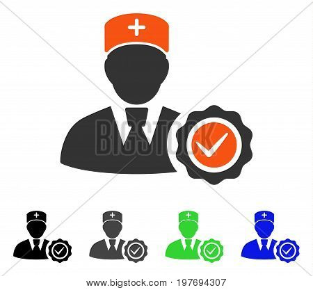 Doctor Certifiation Seal flat vector icon. Colored doctor certifiation seal gray, black, blue, green icon variants. Flat icon style for web design.