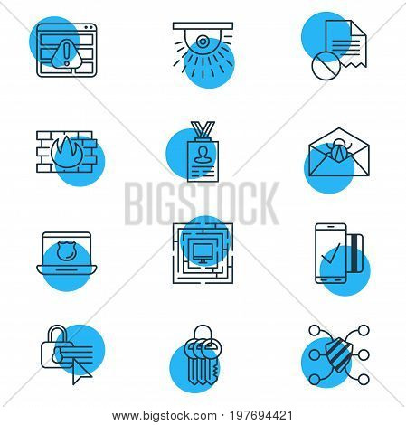 Editable Pack Of Key Collection, Confidentiality Options, Camera And Other Elements.  Vector Illustration Of 12 Protection Icons.