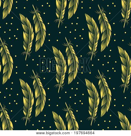 Seamless pattern with big yellow feathers and dots on a dark green background. Vector graphics. Style engraving