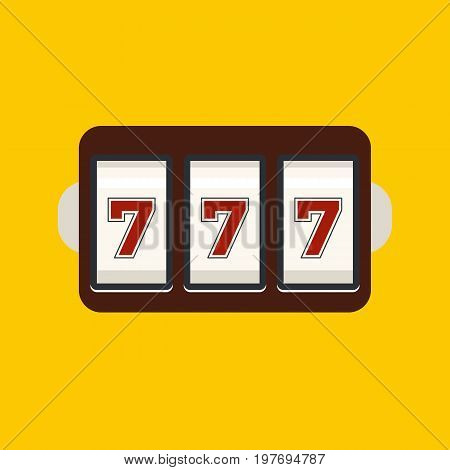 Slot machine with three sevens icon isolated on background. Vector stock.