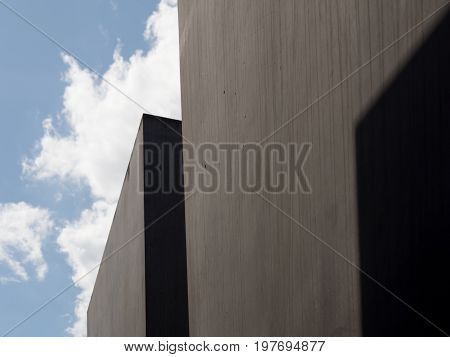 BERLIN GERMANY - JULY 30 2017: The Memorial to the Murdered Jews of Europe Close Up