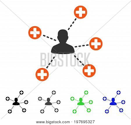 Medical Patient Links flat vector icon. Colored medical patient links gray, black, blue, green icon variants. Flat icon style for web design.