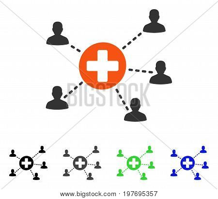Medical Patient Network flat vector pictogram. Colored medical patient network gray, black, blue, green icon variants. Flat icon style for graphic design.