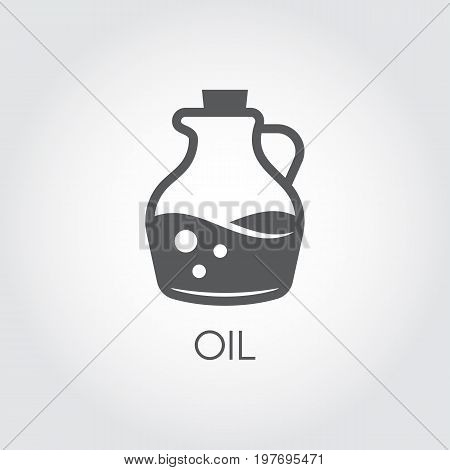 Jug with oil. Food icon in flat style. Culinary concept. Vector illustration on a gray background