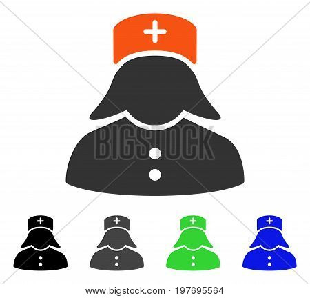 Nurse flat vector icon. Colored nurse gray, black, blue, green icon versions. Flat icon style for application design.