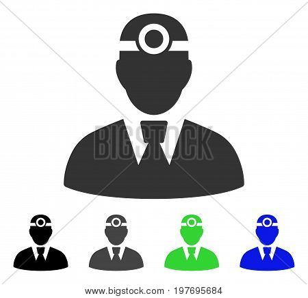 Optician Doctor flat vector pictograph. Colored optician doctor gray, black, blue, green icon variants. Flat icon style for web design.