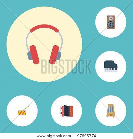 Flat Icons Octave Keyboard, Tambourine, Earphone And Other Vector Elements