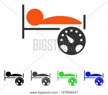 Patient Gauge flat vector illustration. Colored patient gauge gray, black, blue, green icon versions. Flat icon style for graphic design.