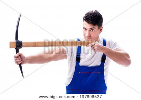 Man with a digging axe hoe on white background isolated