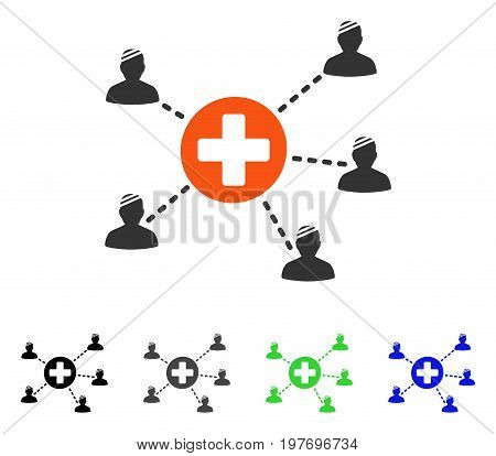 Patient Medical Network flat vector pictograph. Colored patient medical network gray, black, blue, green icon versions. Flat icon style for graphic design.