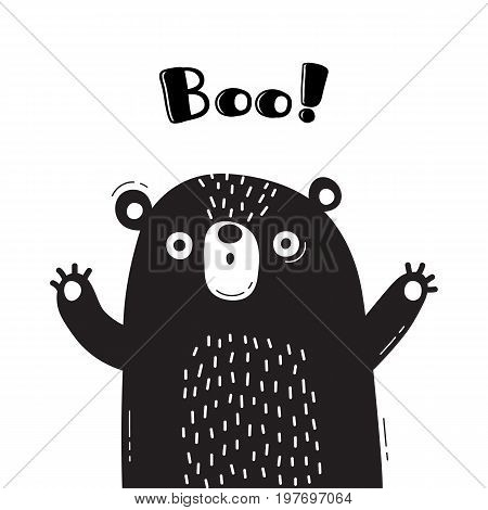 Illustration with bear who shouts - Boo. For design of funny avatars, welcome posters and cards. Cute animal in vector.