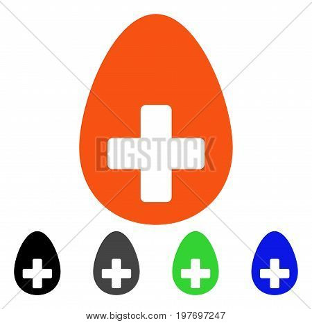 Plus Egg flat vector icon. Colored plus egg gray, black, blue, green icon variants. Flat icon style for application design.