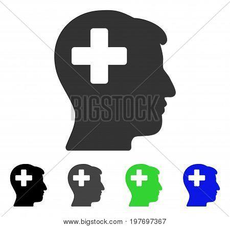 Plus Man Head flat vector illustration. Colored plus man head gray, black, blue, green pictogram versions. Flat icon style for web design.