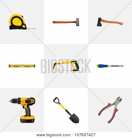 Realistic Electric Screwdriver, Hatchet, Spade And Other Vector Elements